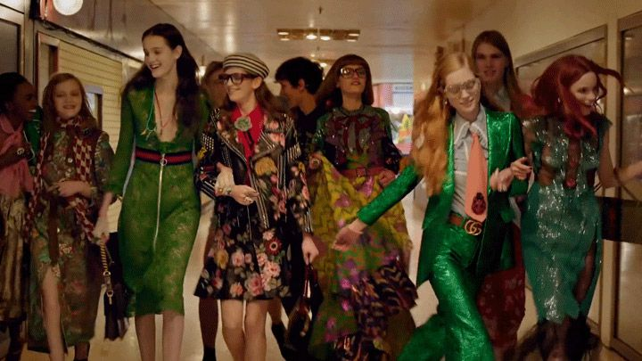 Advert for fashion brand Gucci's 2016 Spring Summer Campaign art directed by Chris Simmons.
